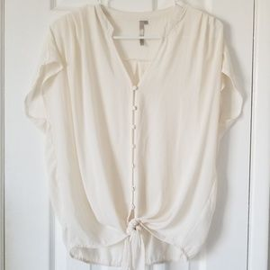 Buttoned down tie front slouchy sheer top